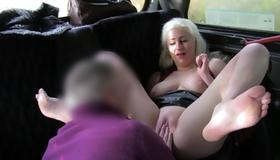 Blonde topless beauty is fingered on her twat
